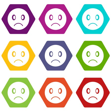 Sad emoticon set many color hexahedron isolated on white vector illustration