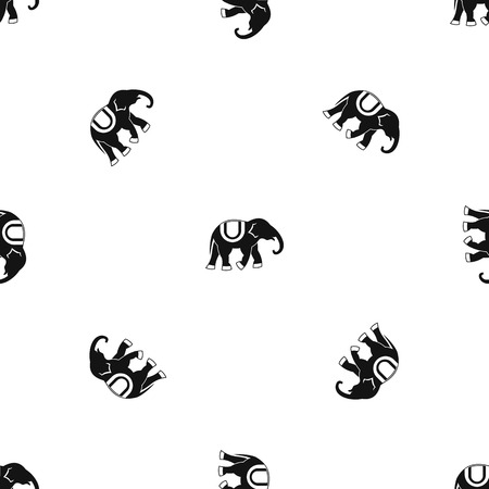 Elephant pattern repeat seamless in black color for any design. Vector geometric illustration Иллюстрация