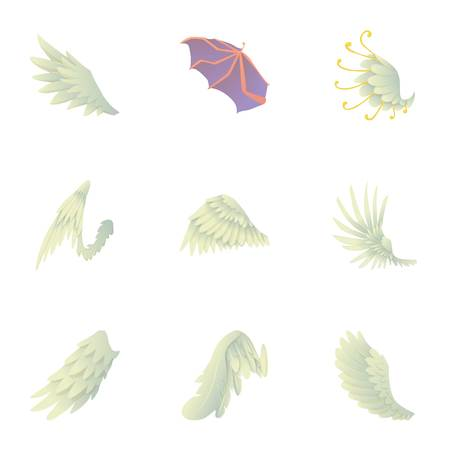 Wings of angel and devil icons set. Cartoon set of 9 wings of angel and devil vector icons for web isolated on white background