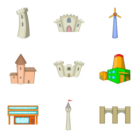 belfry: Belfry icons set. Cartoon set of 9 belfry vector icons for web isolated on white background