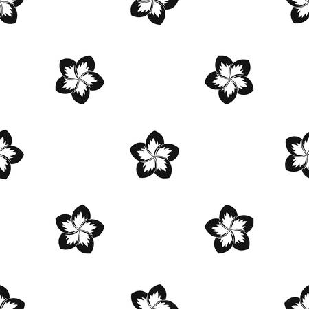 Frangipani flower pattern repeat seamless in black color for any design. Vector geometric illustration