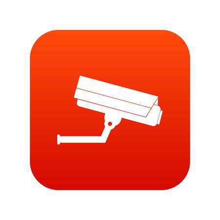 Surveillance camera icon digital red for any design isolated on white vector illustration Illustration