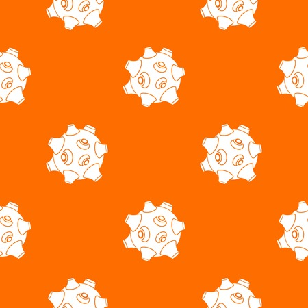 Moon with craters pattern repeat seamless in orange color for any design. Vector geometric illustration Illustration