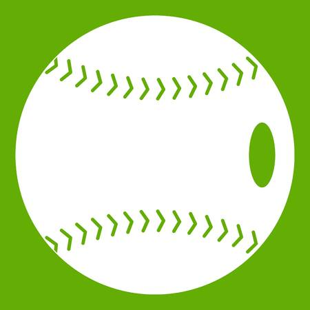 Baseball ball icon white isolated on green background. Vector illustration