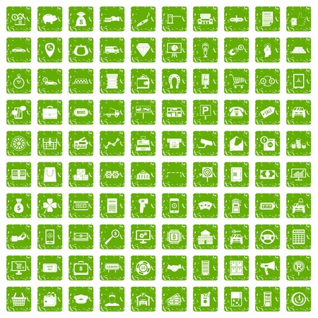 bar magnet: 100 coin icons set in grunge style green color isolated on white background vector illustration Illustration