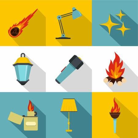 Bronnen van licht icon set. Vlakke stijlenset van 9 bronnen van lichte vectorpictogrammen voor Webontwerp