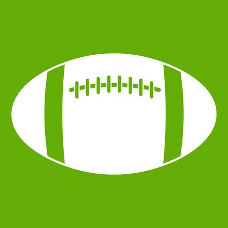 Rugby ball icon white isolated on green background. Vector illustration Illustration