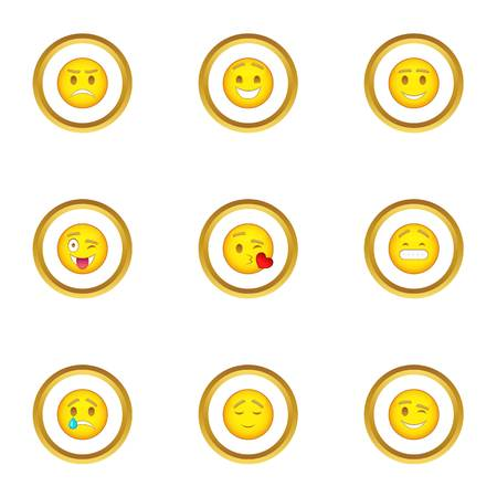 Face with different emotions icons set. Cartoon set of 9 face with different emotions vector icons for web isolated on white background Illustration
