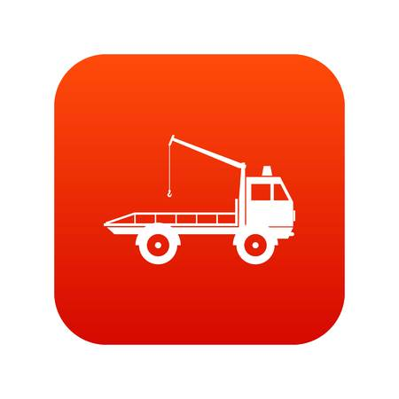 evacuating: Car towing truck icon digital red for any design isolated on white vector illustration