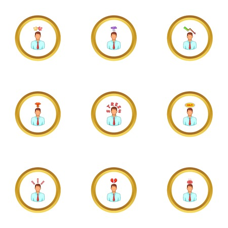 Man thinks icons set. Cartoon set of 9 man thinks vector icons for web isolated on white background