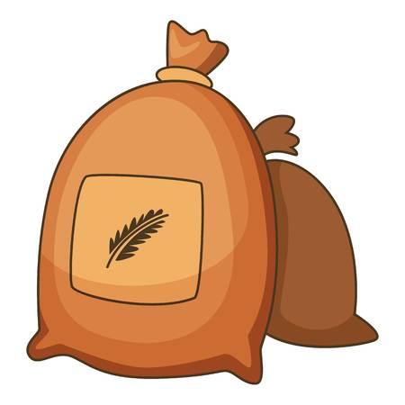 小麦袋アイコン。Web の小麦袋ベクトル アイコンの漫画イラスト  イラスト・ベクター素材