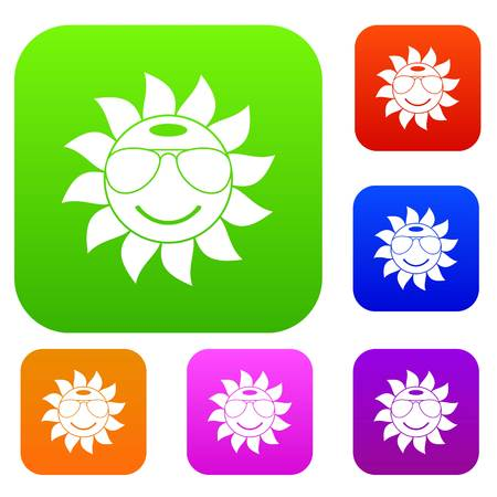 ray of light: Sun set icon in different colors isolated vector illustration. Premium collection Illustration