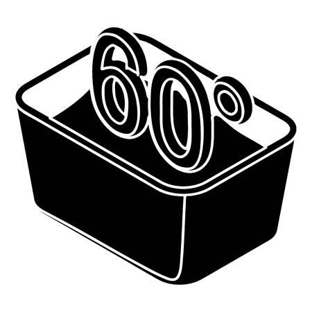 Handwäsche 60 Grad Celsius-Symbol. Einfache Darstellung der Hand waschen 60 Grad Celsius Vektor-Symbol für Web-Design isoliert auf weißem Hintergrund