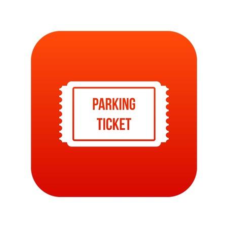 Icona di ticket di parcheggio digitale rosso Archivio Fotografico - 85414098