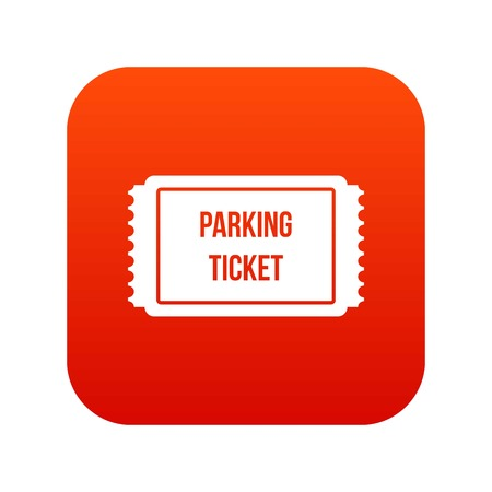 admittance: Parking ticket icon digital red
