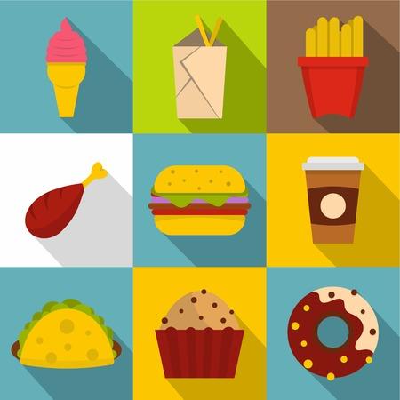 hot dog: Unhealthy food icon set, flat style Illustration