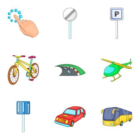 City destination icon set, cartoon style Illustration