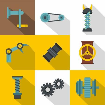 twist: Auto parts icon set, flat style Illustration