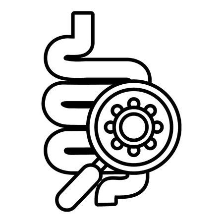 infected: Intestine virus icon , outline style Illustration