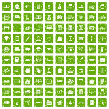 100 credit icons set in grunge style green color isolated on white background vector illustration Illustration