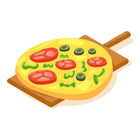 Cheese pizza icon. Isometric illustration of cheese pizza vector icon for web Illustration