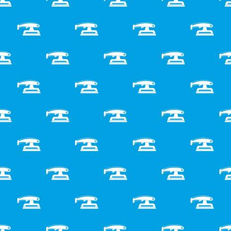 Fret saw pattern repeat seamless in blue color for any design. Vector geometric illustration