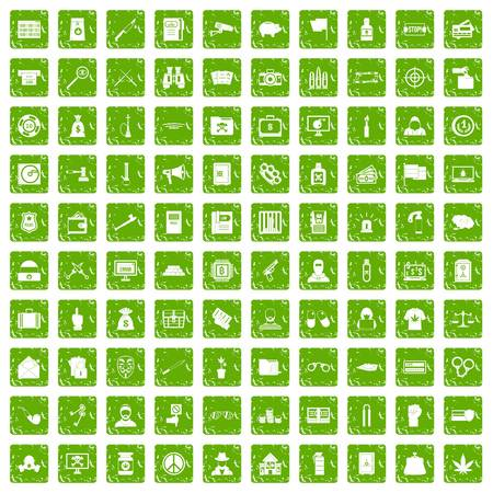 100 criminal offence icons set in grunge style green color isolated on white background vector illustration