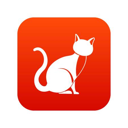 Black cat icon digital red