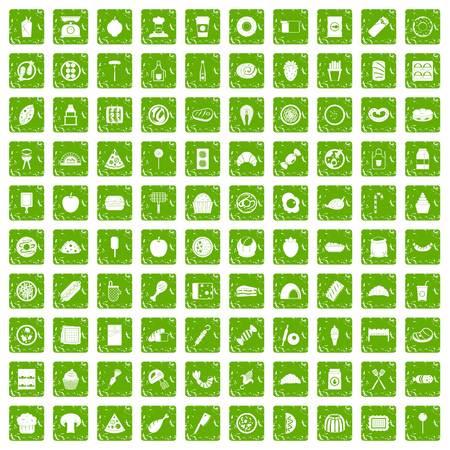 100 délicieuses icônes plates définies dans le style de couleur grunge isolé sur fond blanc illustration vectorielle