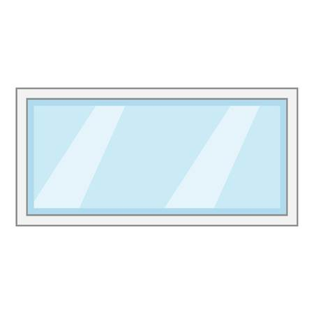 Long window frame icon. Cartoon illustration of long window frame vector icon for web