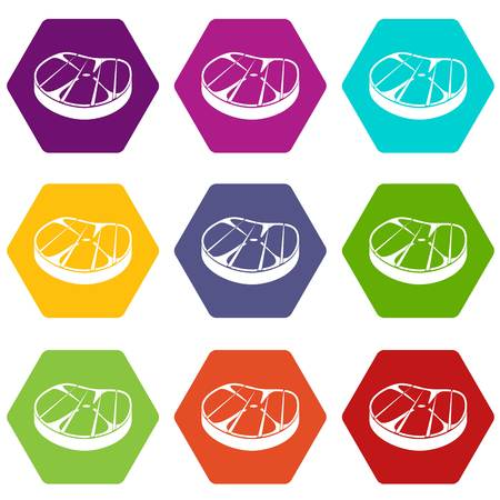 Steak icon set many color hexahedron isolated on white vector illustration Illustration