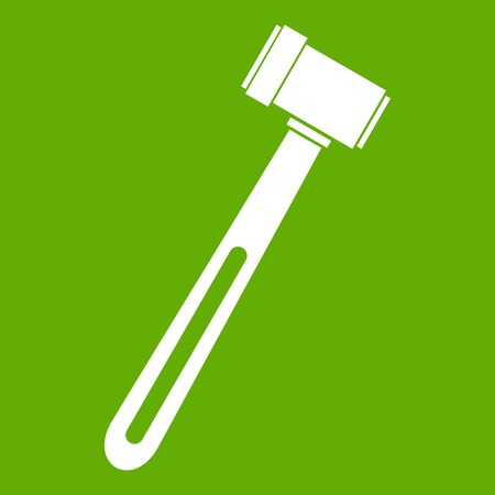 Medical hammer icon white isolated on green background. Vector illustration