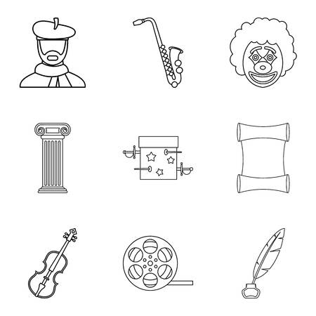 requisite: Talent icons set. Outline set of 9 talent vector icons for web isolated on white background
