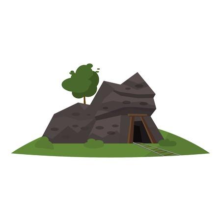 Coal mine entrance icon. Cartoon illustration of coal mine entrance vector icon for web Ilustração