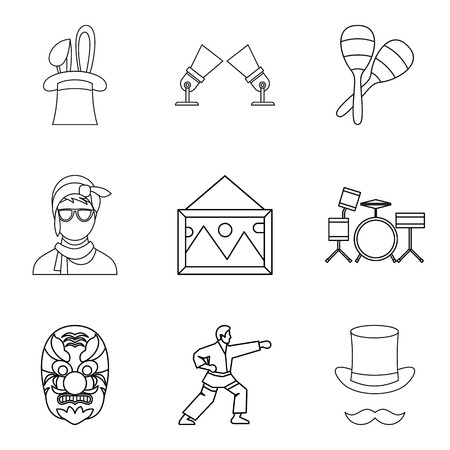 Screen icons set, outline style