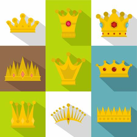 Imperial crown icon set. Flat style set of 9 imperial crown vector icons for web design