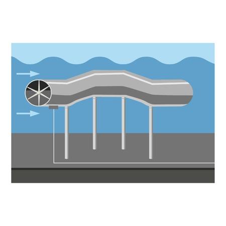 Oil pipeline icon, cartoon style Illustration
