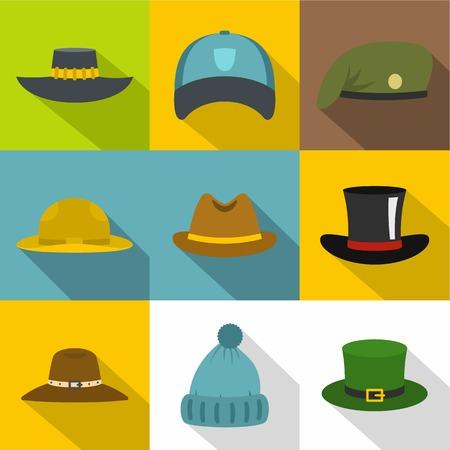 Hat style icon set, flat style Illustration