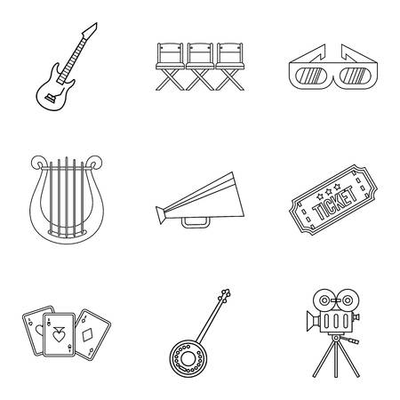 Musical show icons set, outline style