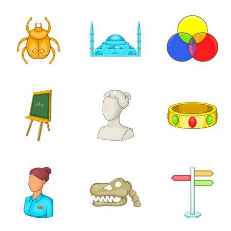 Requisite icons set, cartoon style Illustration