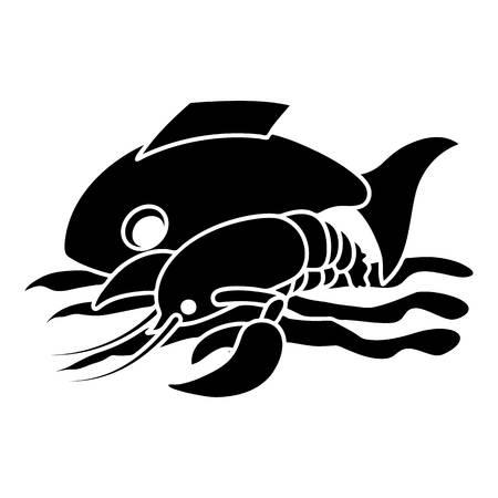 Sea food icon, simple style Illustration
