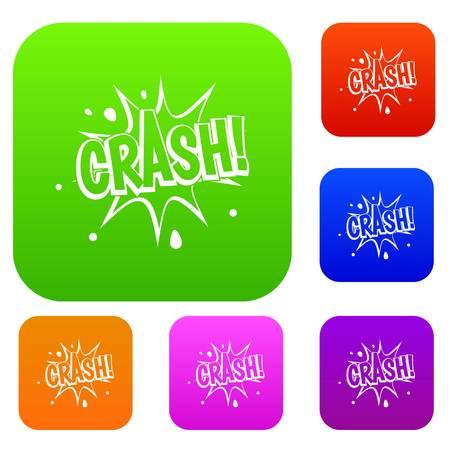 communication cartoon: Crash explosion set color collection Illustration