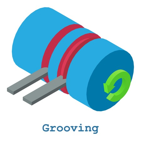 Grooving metalwork icon, isometric 3d style