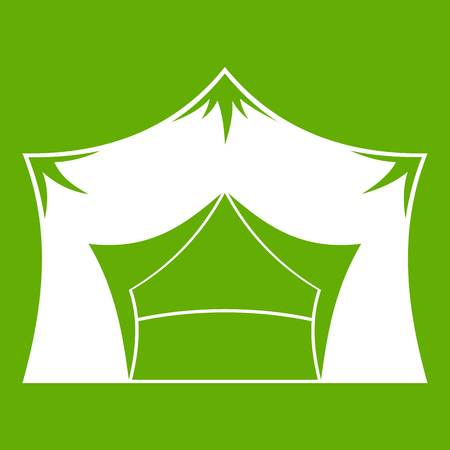 Awning tent icon green Vector illustration.