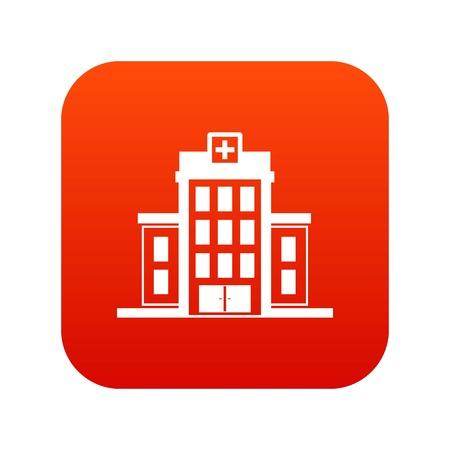 Hospital icon digital red Vector illustration.