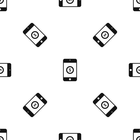 Smartphone with dollar sign on display pattern seamless black Illustration
