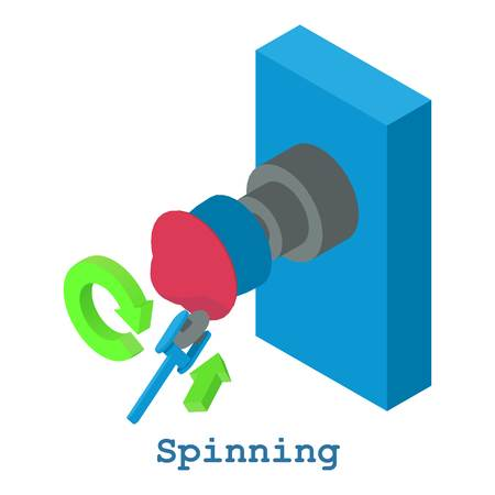 Spinning metalwork icon, isometric 3d style