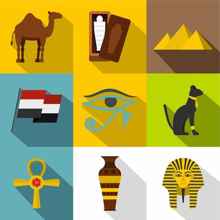 Ancient Egypt icon set, flat style