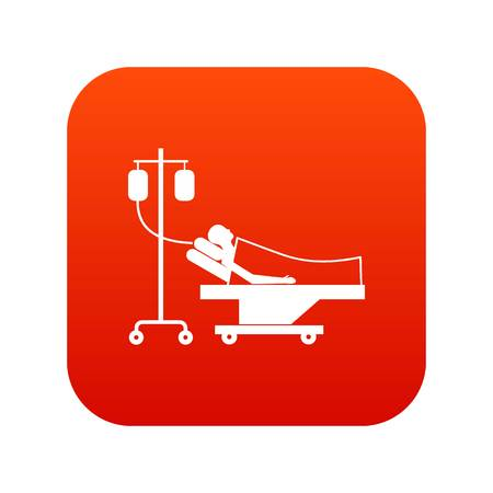 lying in bed: Patient in bed on a drip icon digital red