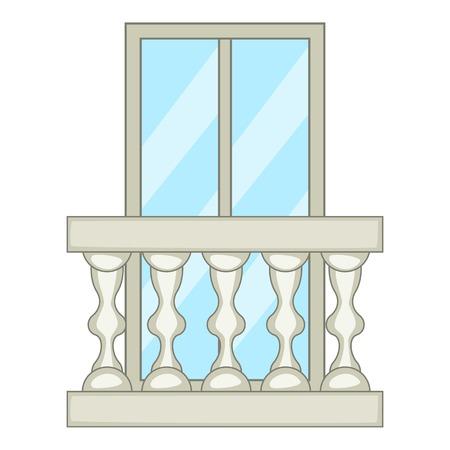 Ornamental balcony icon, cartoon style